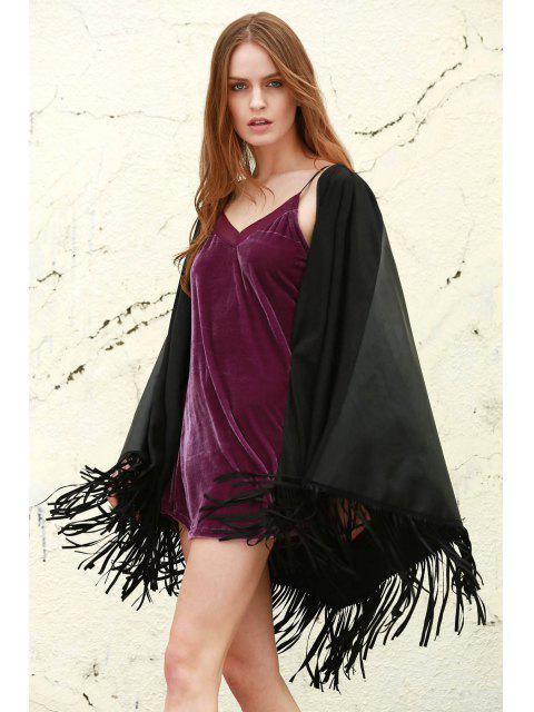 sale Fringe Faux Leather Shawl - BLACK S Mobile