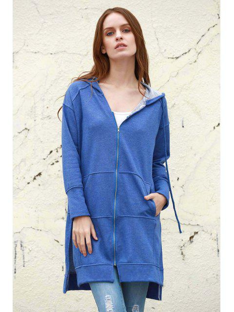 women's Ziggy Washed Solid Color Hoodie - BLUE M Mobile