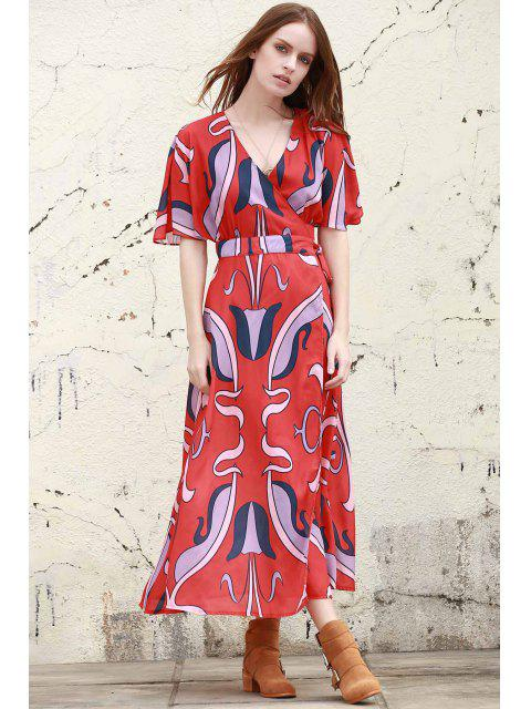 womens Abstract Print Plunging Neck Butterfly Sleeve Dress - RED L Mobile
