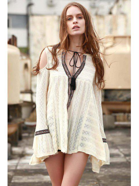 latest Cut-Out Plunging Neck Long Sleeve Dress - BEIGE L Mobile