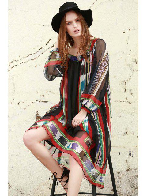 buy Print Chiffon Long Sleeves Tunic Dress - BLACK S Mobile