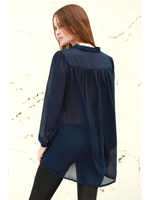 affordable See-Through Plunging Neck Long Sleeve Blouse - PURPLISH BLUE L Mobile