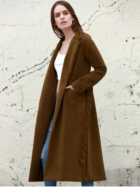 affordable Lapel Solid Color Long Overcoat - CAMEL S Mobile