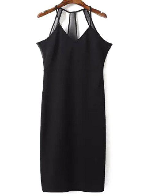 outfit Sleeveless Solid Color Sheath Dress - BLACK L Mobile
