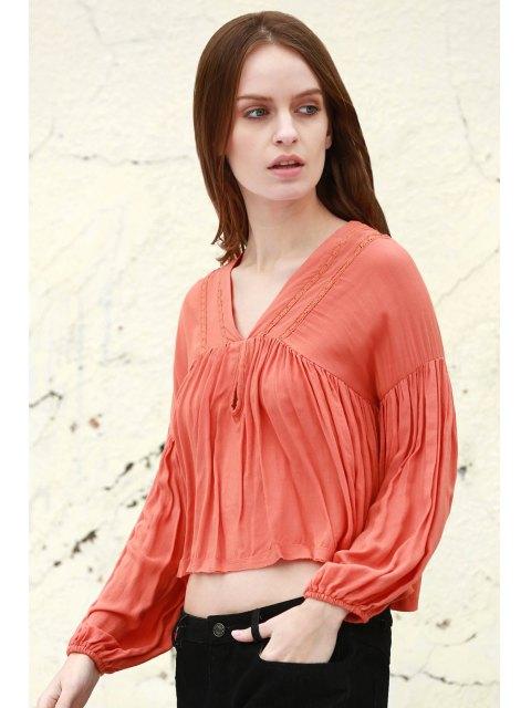 Color sólido V cuello largo manga de soplo de la blusa - Jacinto L Mobile