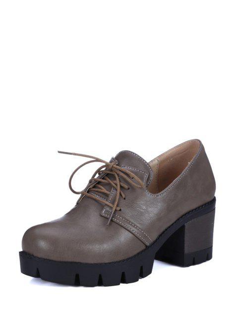 shop Lace-Up Platform Chunky Heel Pumps - GRAY 37 Mobile