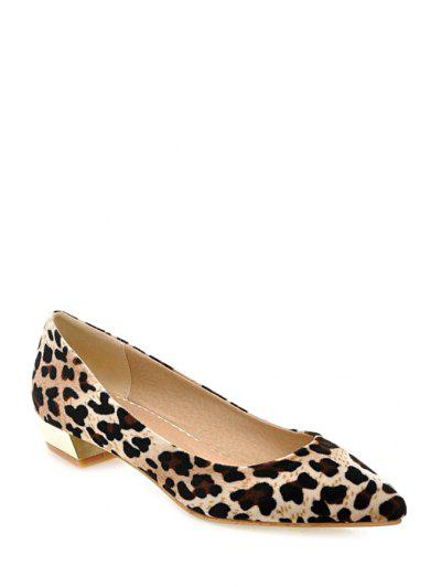Leopard Print Suede Pointed Toe Flat Shoes - Yellow
