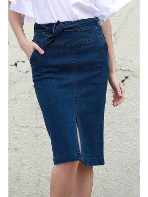 Denim High Waisted Pencil Skirt - Blue L