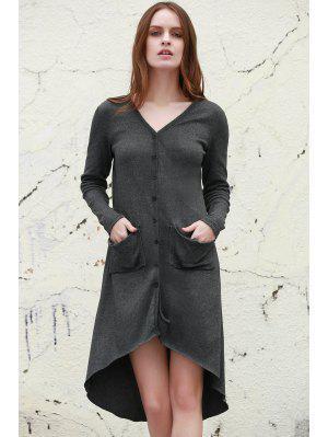 Gray V Neck Long Sleeve Cardigan - Gray M