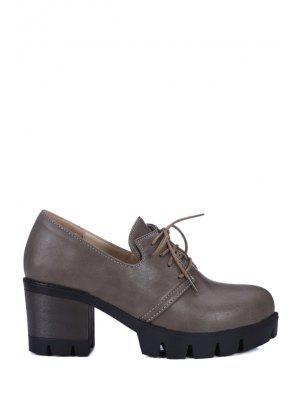 Lace-Up Platform Chunky Heel Pumps - Gray 39