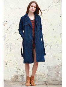 المعطف النسائي الشائع بالدنيم مع طية صدر السترة والكم الطويل - ازرق غامق S