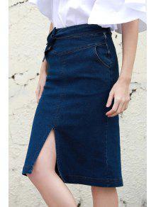 b50eff9c83 33% OFF] 2019 Denim High Waisted Pencil Skirt In BLUE | ZAFUL