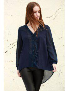 See-Through Plunging Neck Long Sleeve Blouse - Purplish Blue L