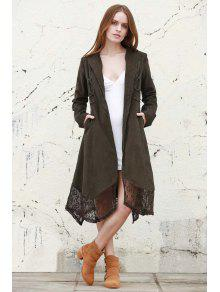 Buy Lace Spliced Lapel Long Sleeve Coat - BLACKISH GREEN L