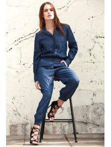 Denim Turn Collar Long Sleeve Jumpsuit - BLUE S