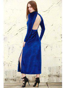 Fanático De Terciopelo Vestido Maxi - Azul Xl