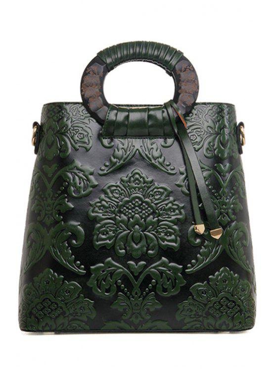 sale Floral Embossing PU Leather Tote Bag - GREEN