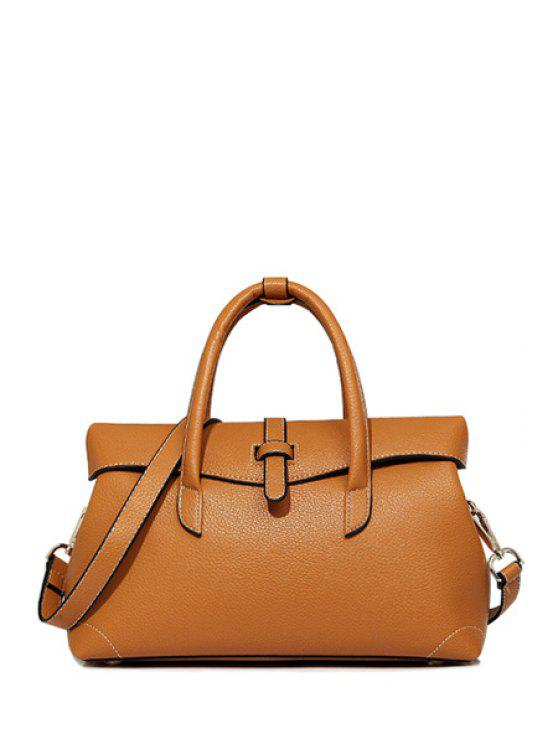 outfit Solid Color Stitching PU Leather Tote Bag - BROWN