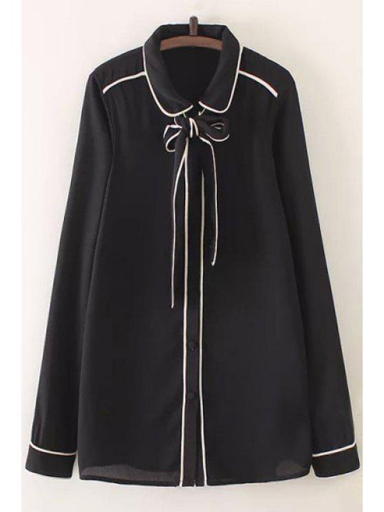 Bow Tie col plat à manches longues - Noir L