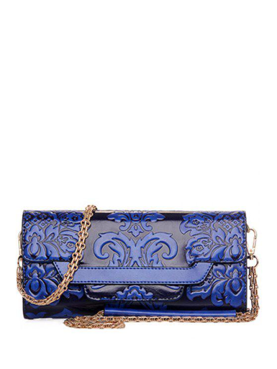 2018 Chains Floral Embossing Crossbody Bag In BLUE | ZAFUL