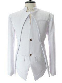 Stand Collar Splicing Design Faux Twinset Long Sleeve Blazer For Men - White L