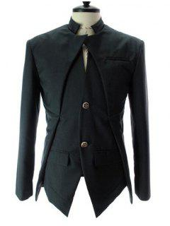 Stand Collar Splicing Design Faux Twinset Long Sleeve Blazer For Men - Black M
