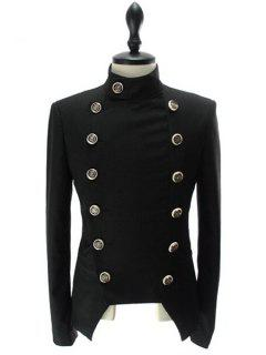 Stand Collar Double-Breasted Solid Color Long Sleeve Blazer For Men - Black M
