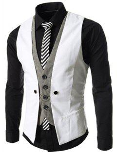Faux Twinset V-Neck Single Breasted Color Block Sleeveless Waistcoat For Men - White 2xl