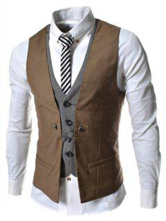 Faux Twinset V-Neck Single Breasted Color Block Sleeveless Waistcoat For Men - Brown M