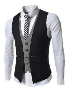 Faux Twinset V-Neck Single Breasted Color Block Sleeveless Waistcoat For Men - Black L