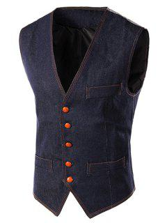 Slim Fit Denim Casual Vest - Blue L