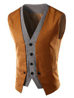 Slimming Single Breasted V-Neck Color Block Waistcoat For Men - Camel L