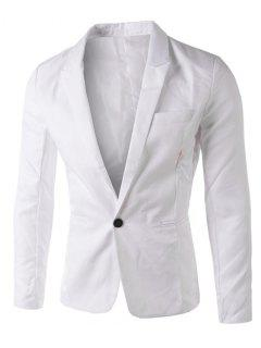 Casual Tailored Collar Single Button Solid Color Blazer For Men - White Xl