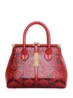 Floral Embossing Metal Tote Bag - Wine Red
