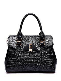 Crocodile Print Buckles Hasp Tote Bag - Black