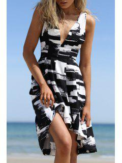 Print Plunging Neck A Line Dress - White And Black L