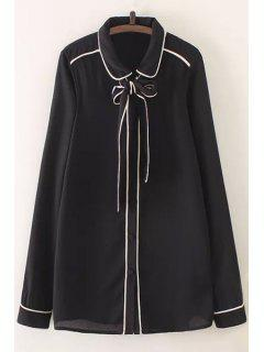Bow Tie Flat Collar Long Sleeve Shirt - Black M