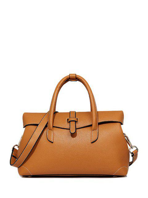 Solide en cuir coutures de couleur PU Tote Bag - Brun  Mobile