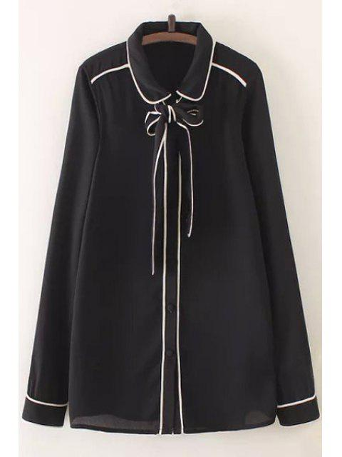ladies Bow Tie Flat Collar Long Sleeve Shirt - BLACK L Mobile