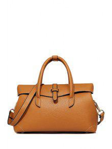 Solid Color Stitching PU Leather Tote Bag - Brown