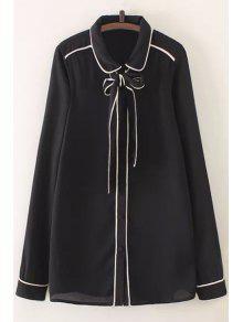 Pajarita Collar Plano Camiseta Manga Larga - Negro L
