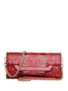 Chains Floral Embossing Crossbody Bag - Red