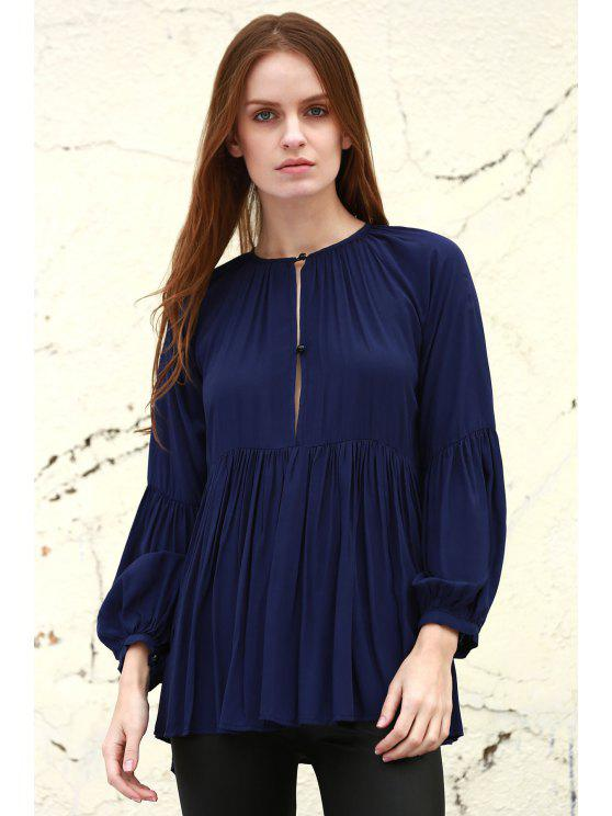 unique Solid Color Loose Fitting Long Sleeves Blouse - DEEP BLUE S