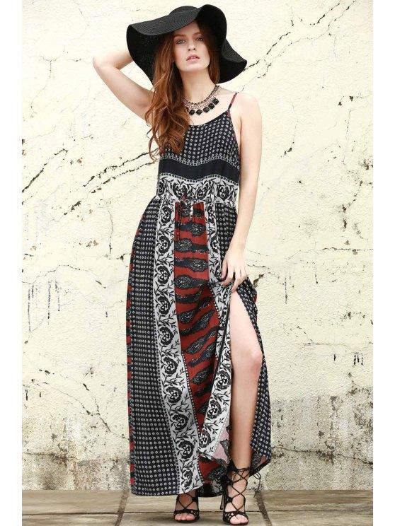 new Printed Open Back High Slit Maxi Dress - BLACK S