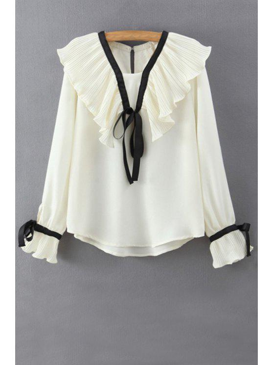 unique Lace Up Ruff Collar Bell Sleeve Shirt - WHITE M
