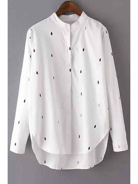 fashion Embroidery Print Stand Collar Long Sleeve Shirt - WHITE M