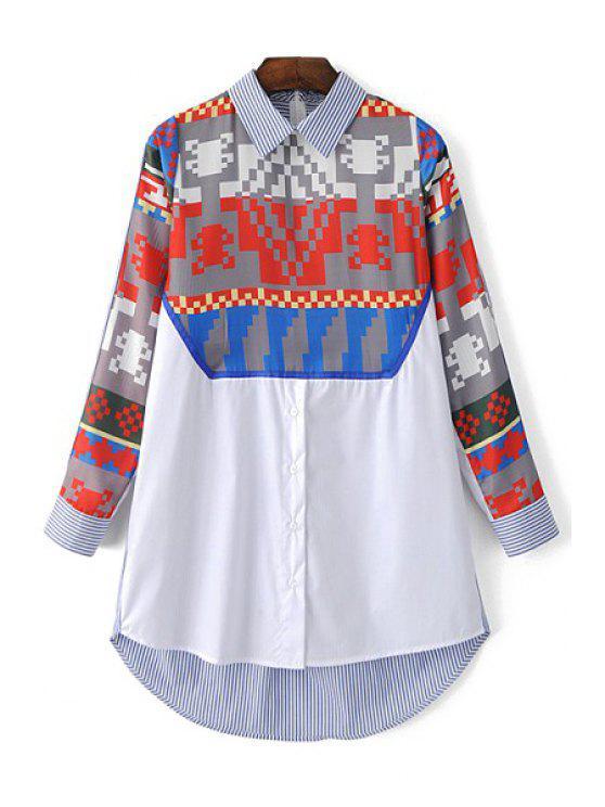 women's Printed Shirt Collar Long Sleeve Shirt - LIGHT BLUE S