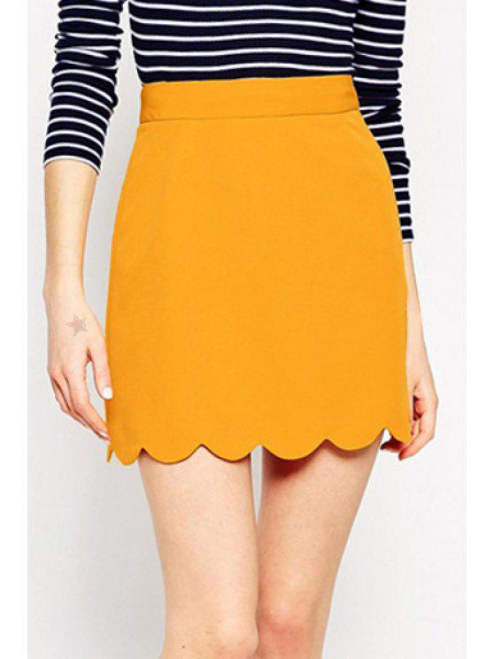 buy Solid Color Wave Hem A Line Skirt - YELLOW XL