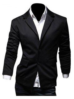 Casual Lapel Flap Pocket Rib Spliced Slimming Long Sleeves Blazer For Men - Black 2xl