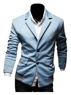 Casual Lapel Flap Pocket Rib Spliced Slimming Long Sleeves Blazer For Men - Light Blue M